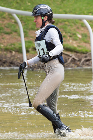 Kathryn  Robinson (CAN)  after taking a fall at the water whilst taking part in the cross country phase of the  Houghton International CICO Three Star competition 30th May 2015